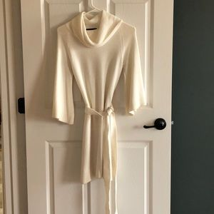 Ivory Cowl Neck Sweater Dress